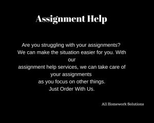 Are you in need of assignment help services? Our services include assignment services, which are tailored to meet your coursework needs, term papers, powerpoint presentations, essay writing services, among others. Get assignment help today for your papers.